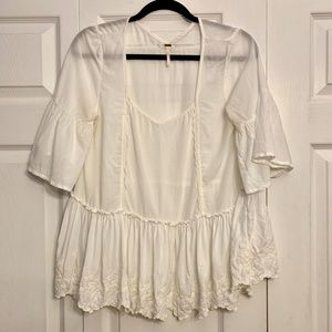 FREE PEOPLE Ivory Bell Sleeve boho Swing top M